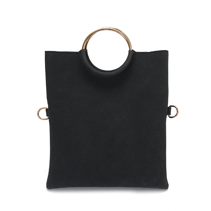 Women Vertical Square Envelope Bag Folding Hand Bag Metal Ring Handle Ladies Bag