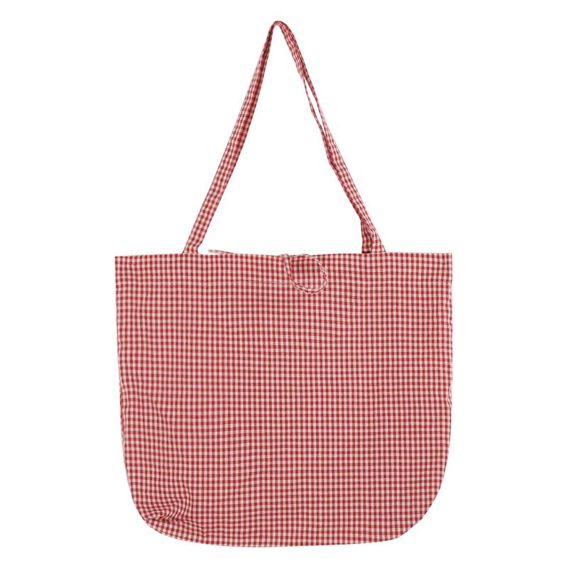 Women Plaid Red Square Bag Canvas Shoulder Bag Ladies Fashion Cotton Bag