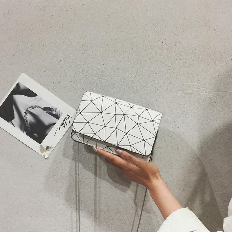 Women Geometric Pattern Mini Square Messenger Bag Ladies Trend Shoulder Sling Bag