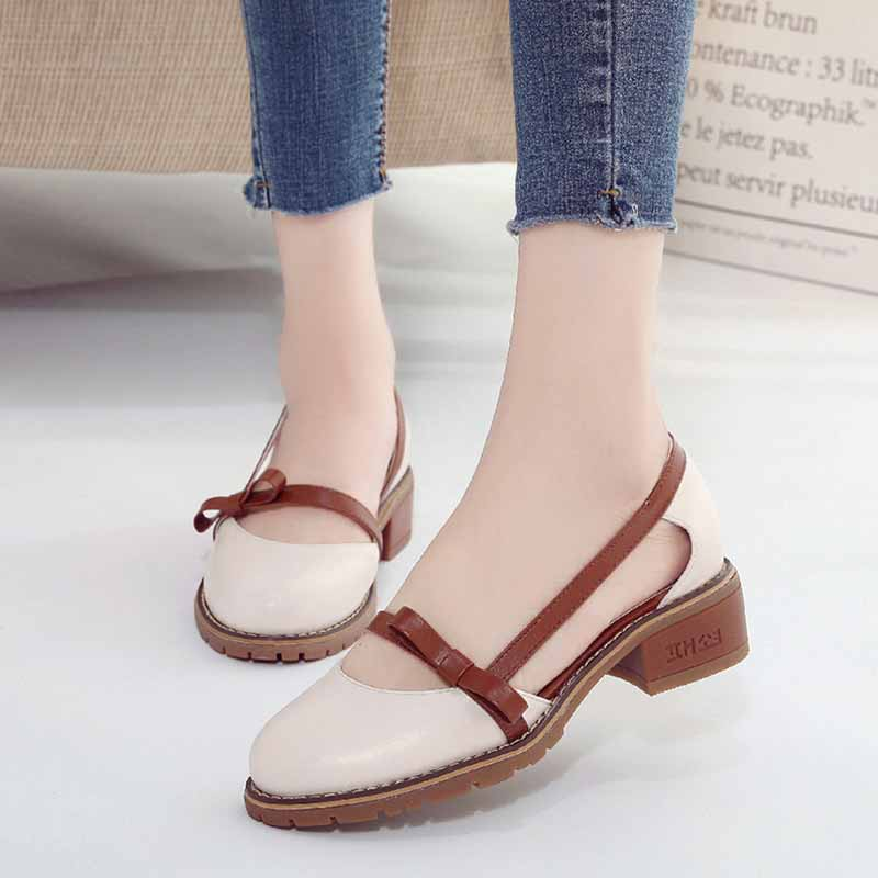 Women Mary Jane Casual Shoes Medium Thick Heels Chic Fashion Ladies Shoes