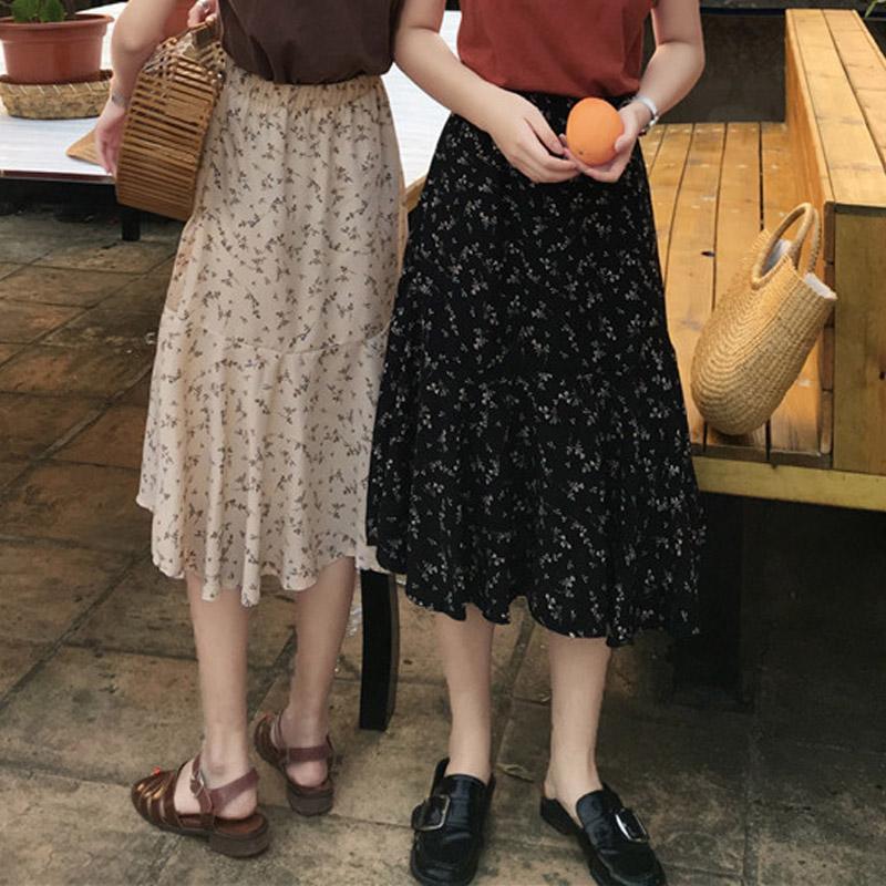 Women Floral Skirt Long Ruffled Edge Spring Fashion Chic Bottom