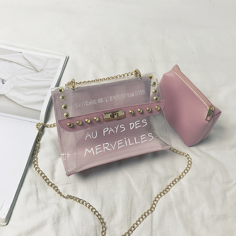 Women Jelly Chain Bag Make Up Pouch Party Fashion Chic Sling Bag