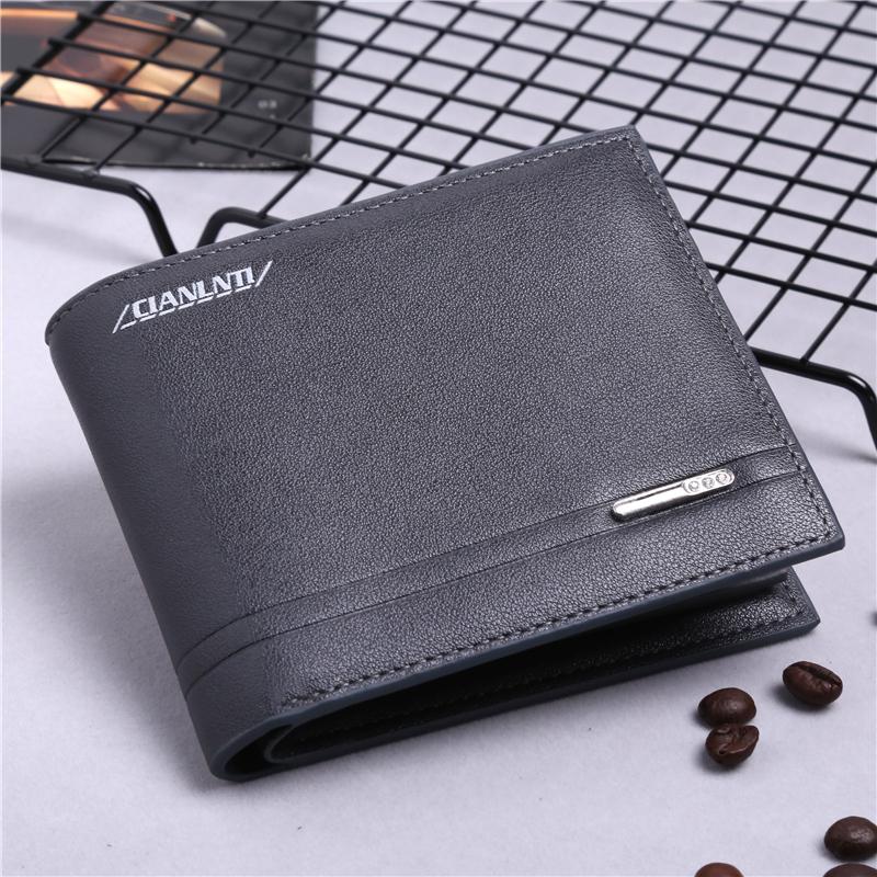 Men's Basic One Fold Leather Wallet Male Fashion Card Case Wallet
