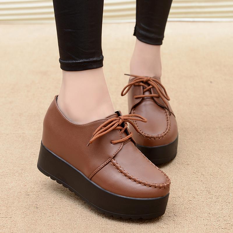 Women Round Joker Shoes Lace Up High Heels Platform Plus Size Shoes
