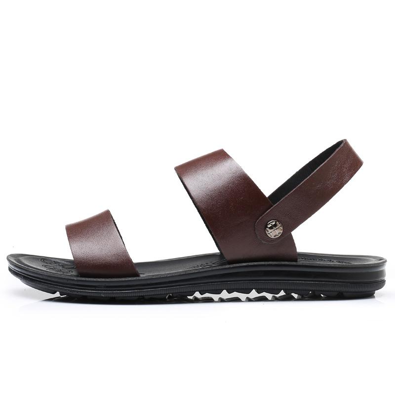 Men's Leather Non Slip Sandals Summer Beach Fashion Outdoor Slippers