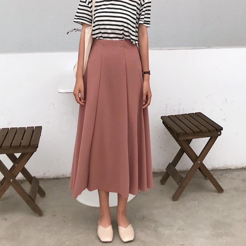 Women Stretchable High Waist Skirt Ladies Retro Fashion Long Skirt