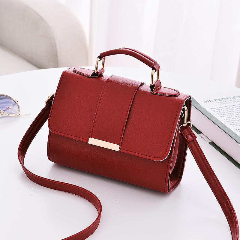Women Leather Shoulder Bag Buckle Handle Office Fashion Sling Bag