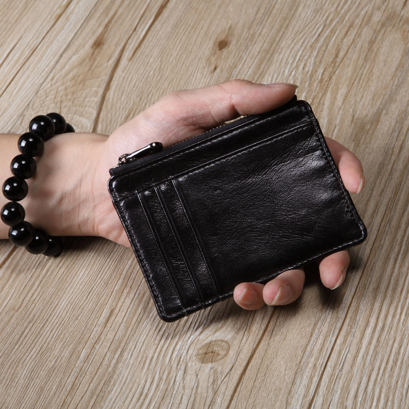 Men's Leather Card Case Mini Coin Purse Male Zippered Small Wallet