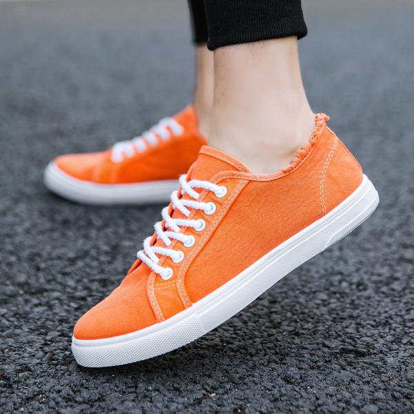 Men's Plain Color Lace Up Daily Fashion Male Casual Canvas Shoes