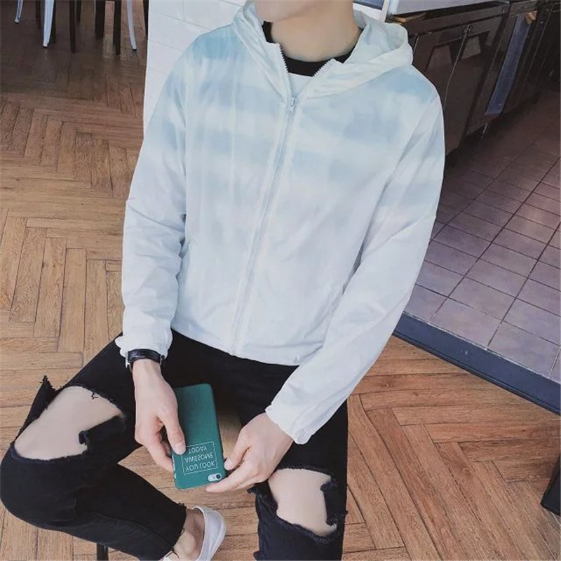 Men\'s Hoodie Jacket Thin Summer Protection Zippered Long Sleeve Slim Fit Jacket