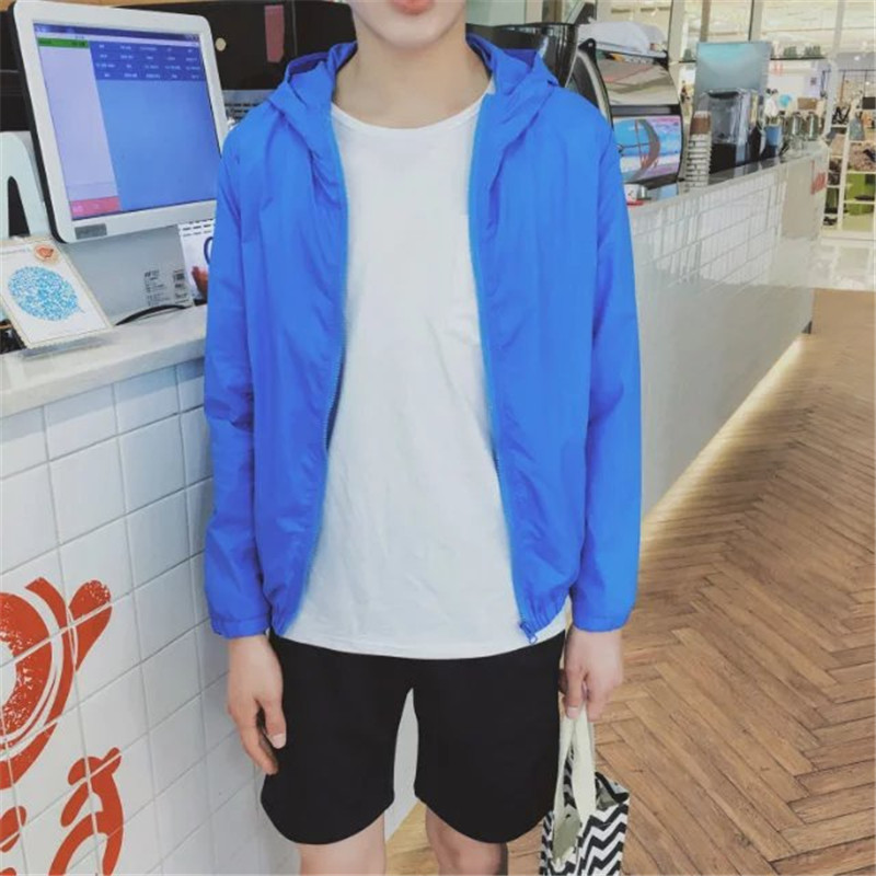 Men's Hoodie Jacket Thin Summer Protection Zippered Long Sleeve Slim Fit Jacket