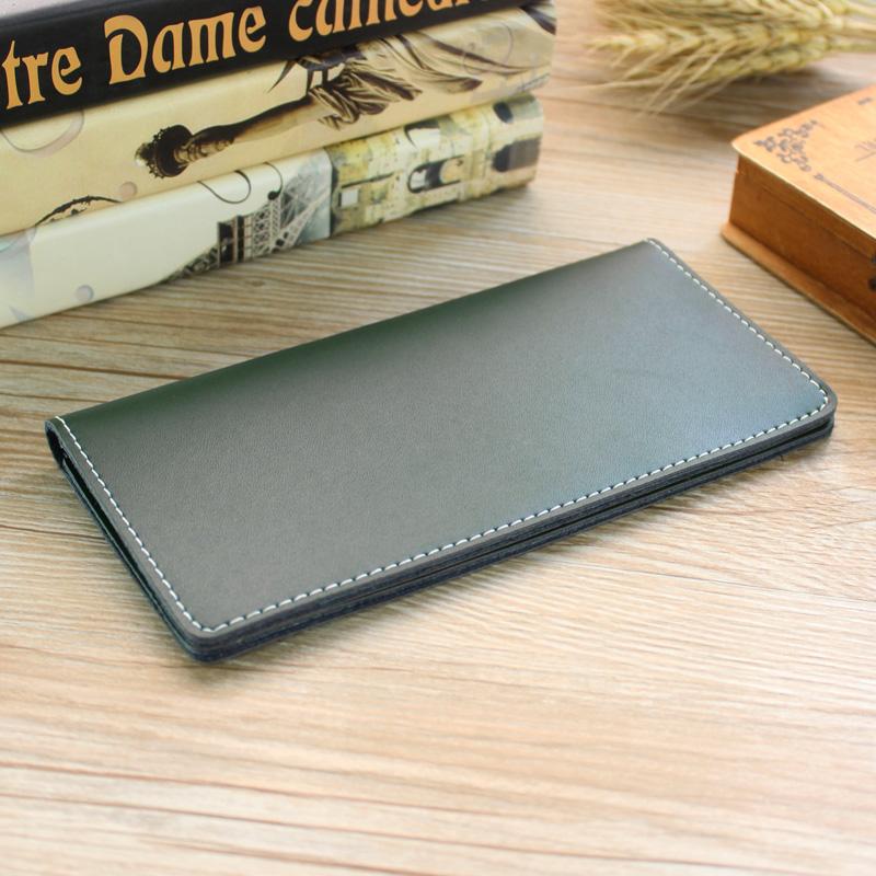 Men\'s Leather Simple Long Wallet Multi Card Compartment Unisex Retro Trend Purse