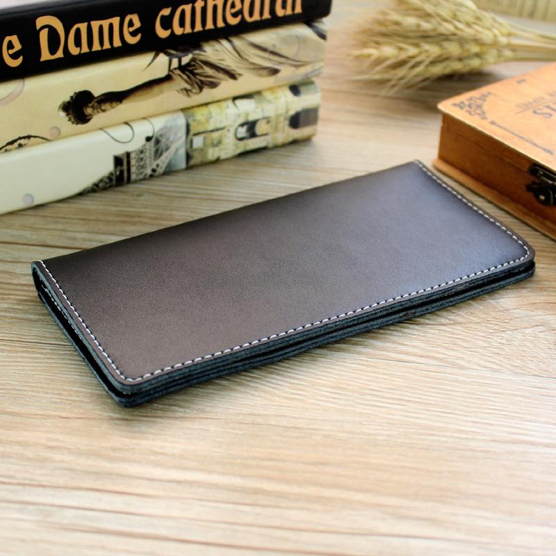 Men's Leather Simple Long Wallet Multi Card Compartment Unisex Retro Trend Purse