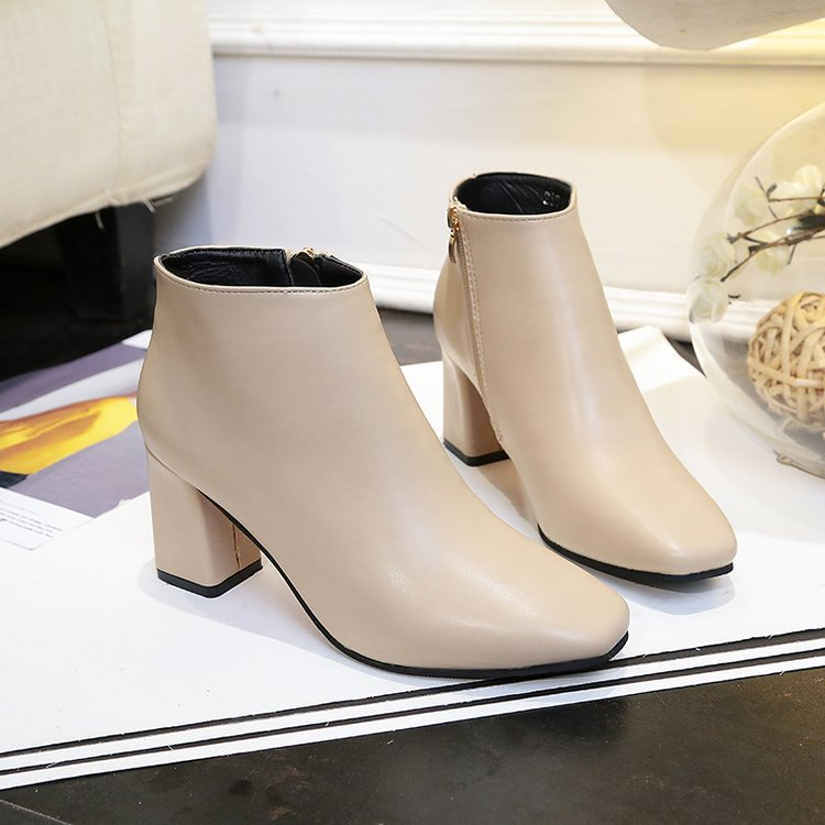 Women Solid Color Classy Ankle High Boots Elegant Fashion Side Zipper High Heels