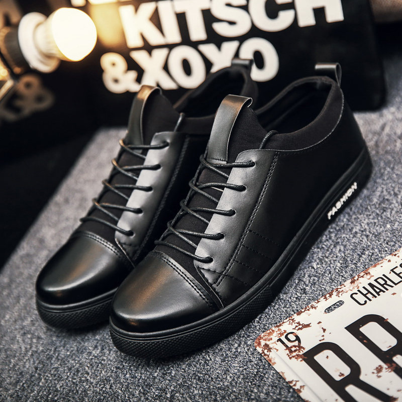 Men's Casual Lace Up Shoes Waterproof Student Trend Non Slip Working Shoes