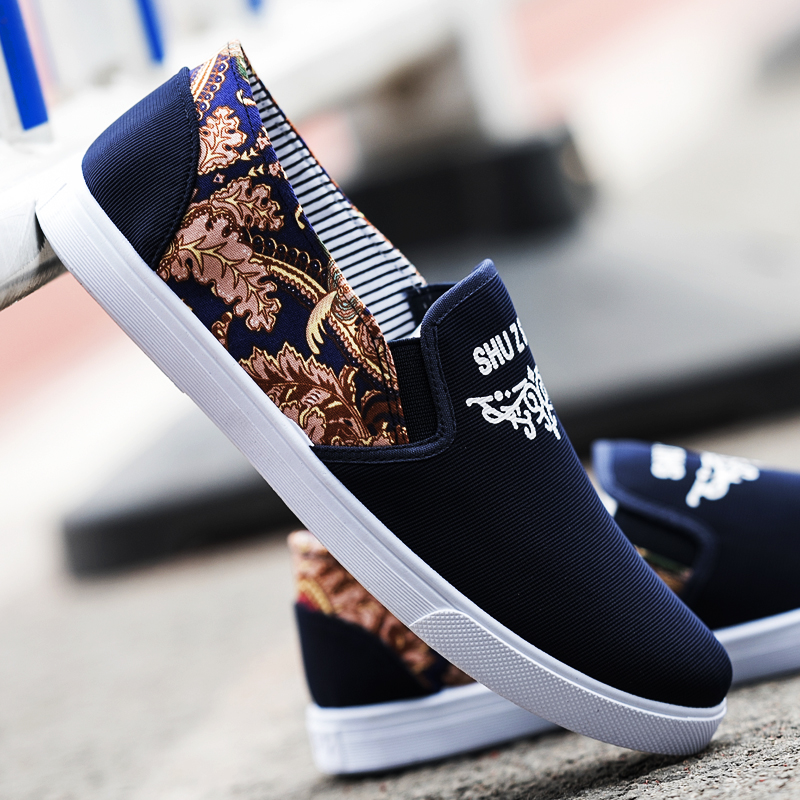 Men s Gold Print Casual Peas Shoes Everyday Wear Male Trend Flat Canvas  Shoes 2464609a580