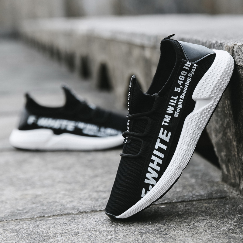 Men's White Statement Rubber Shoes Sports Running Outdoor Fashion Sneakers