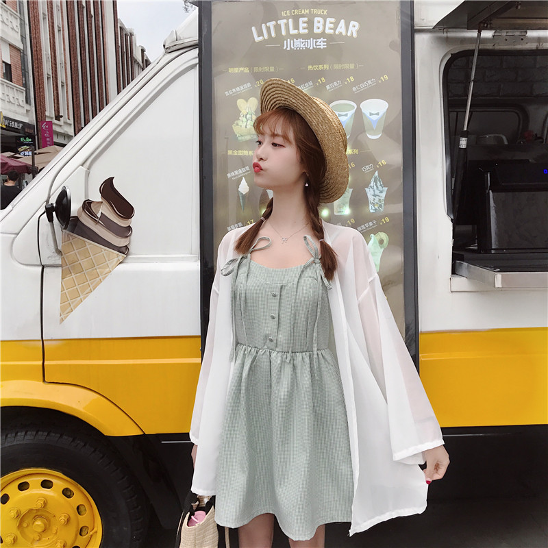 Women Cute Ribbon Tie Sleeveless Short Skirt Dress Plus White Summer Cardigan