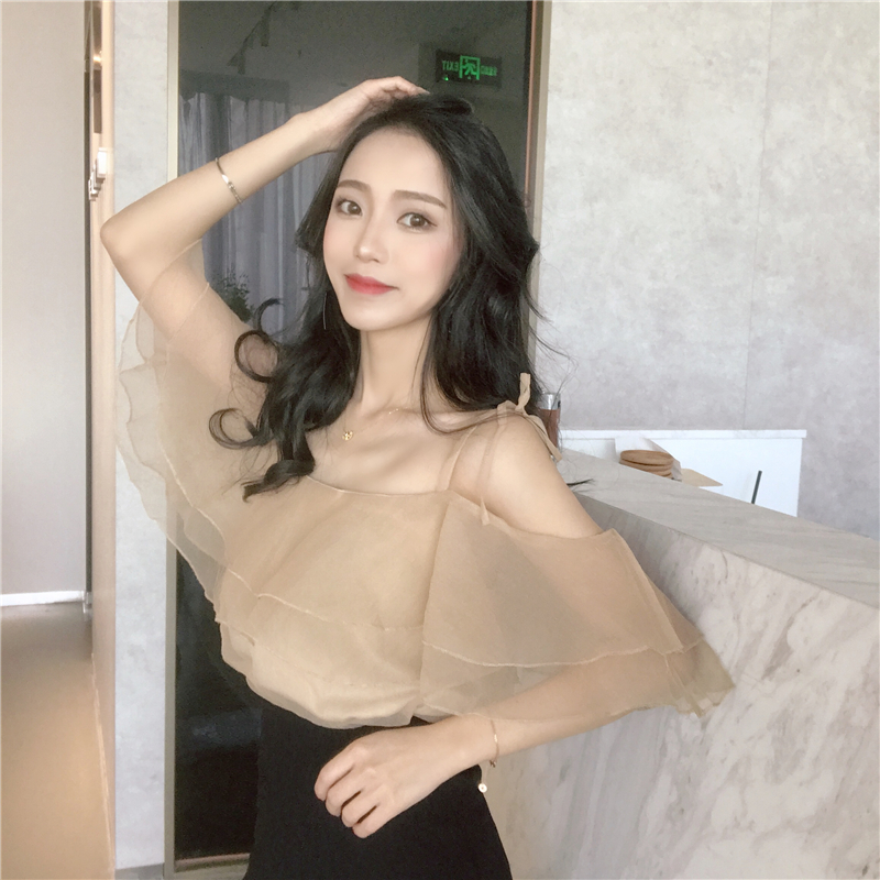 Women Multi Layer Ruffled Chiffon Cold Shoulder Top Chic Style Ladies Sexy Tops