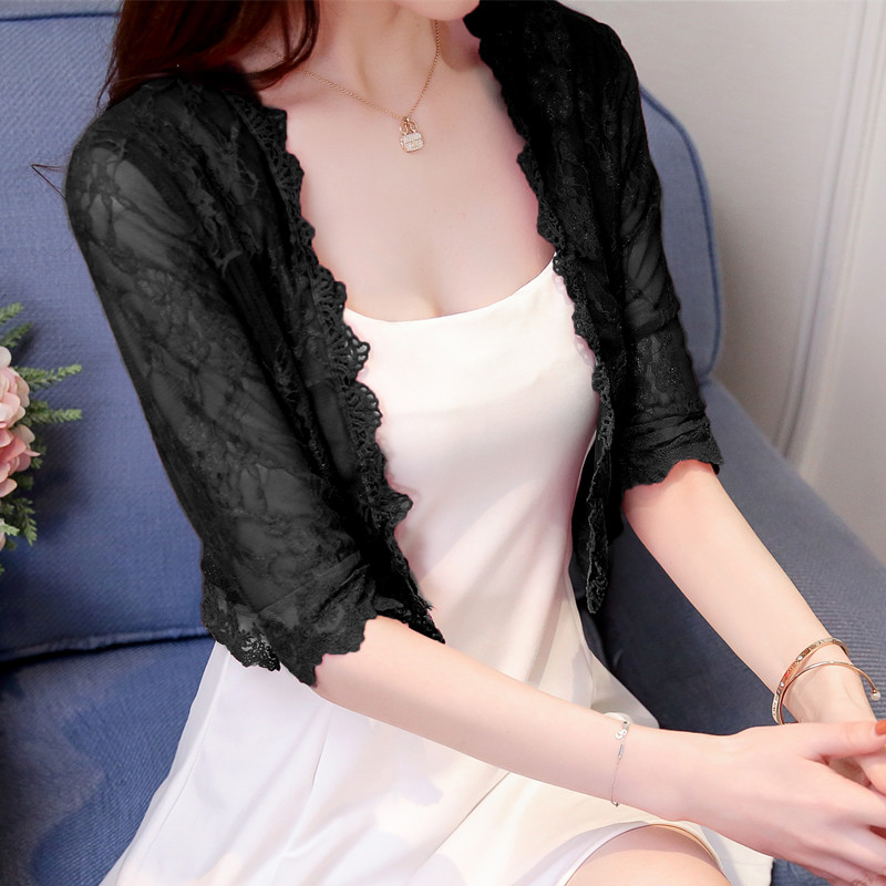 Women Mesh Lace Shawl Half Sleeve Fashion Sun Protection Plus Size Cardigan
