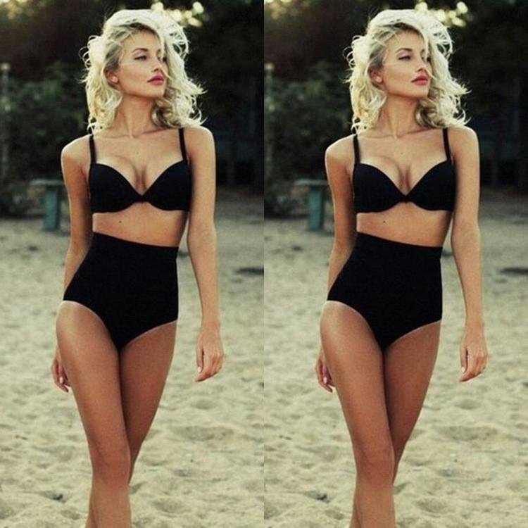 Women Classic Black Two Piece Swimsuit High Waist Summer Beach Sexy Bikini