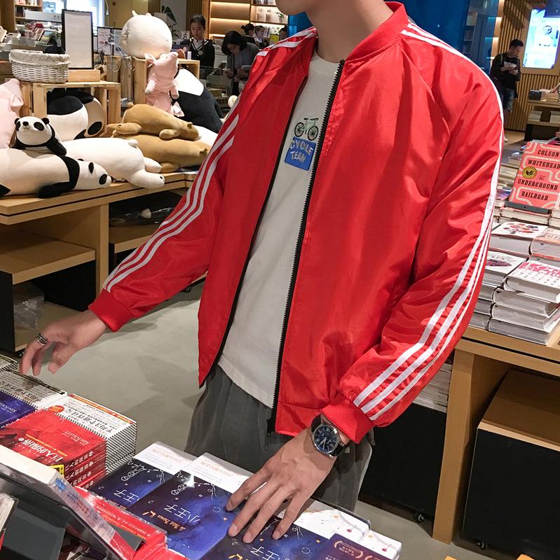 Men's Baseball Jacket Stripe Zippered Long Sleeve Handsome Fashion Loose Jacket