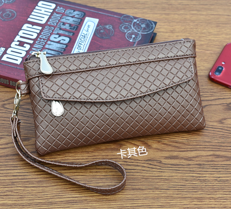 Women Checker Simple Style Small Clutch Bag Female Fashion Mobile Purse Bag