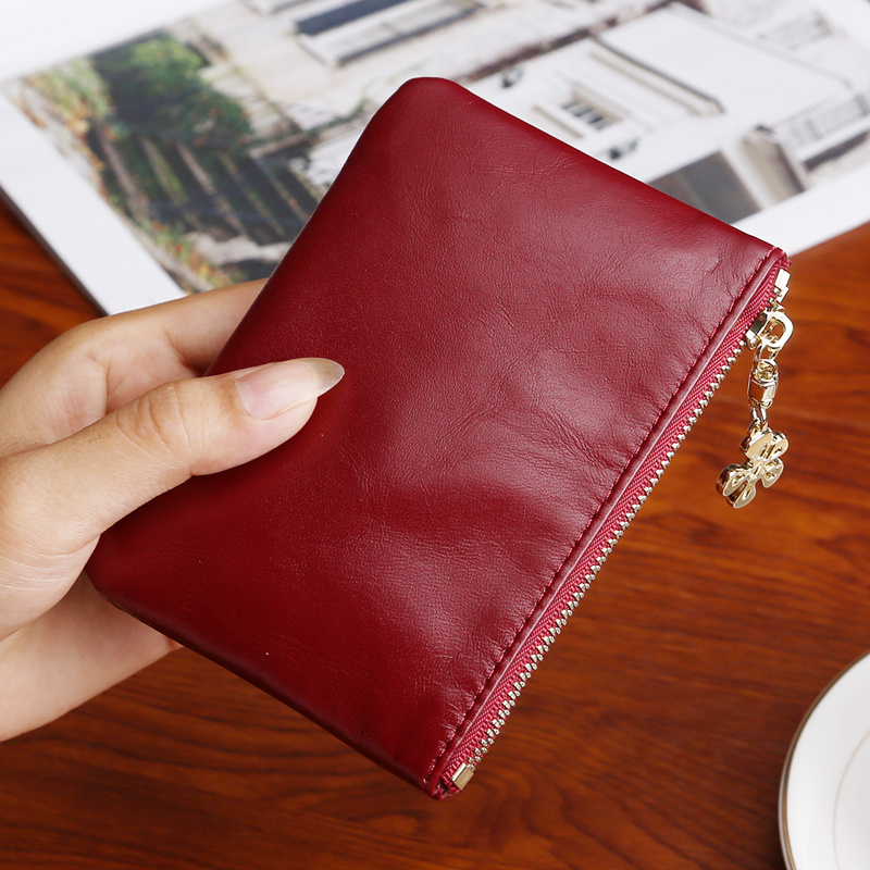 Women Sheepskin Solid Color Mini Coin Purse Slim Cute Card Wallet Ladies Purse