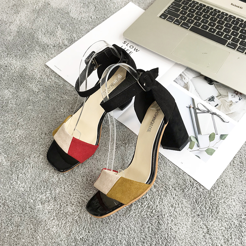 Women Color Block Open Shoes Suede Retro Chic Thick High Heels Ladies Sandals