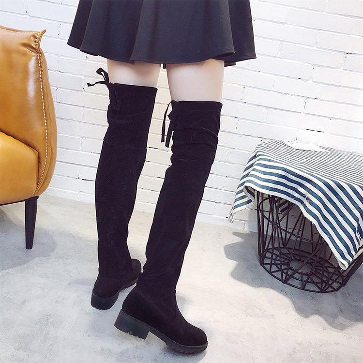 Women Suede Matte Knee High Boots Back Lace Bow Tie Plus Size Super Long Boots