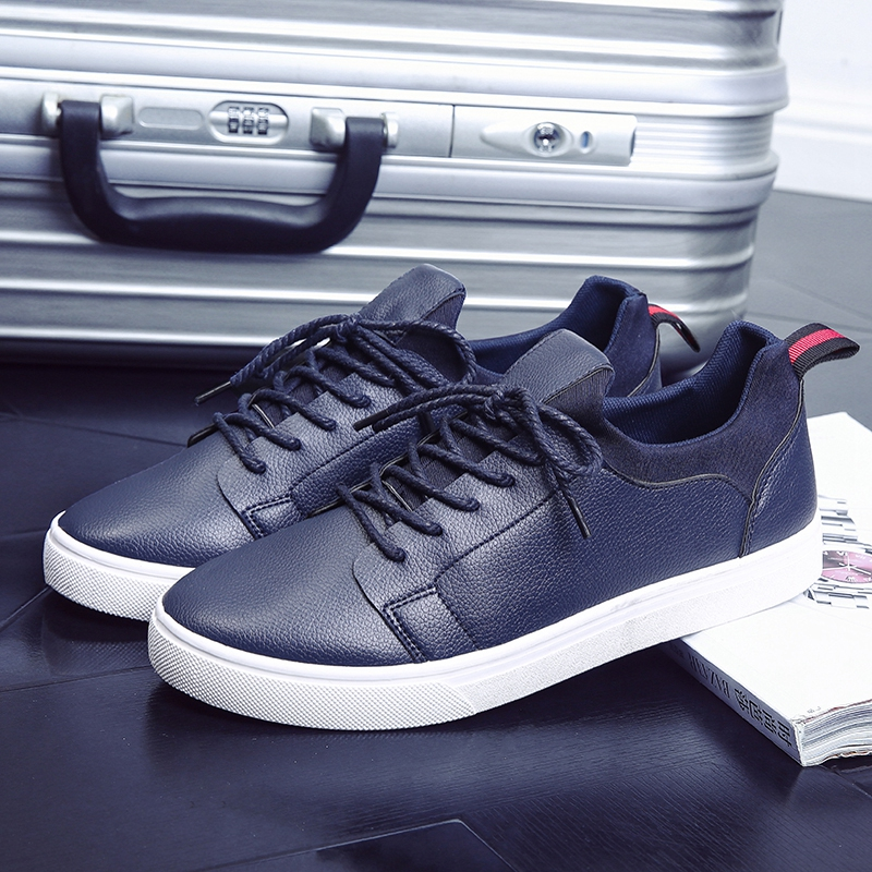 Men's Casual Lace Up Solid Color Business Leisure Fashion Social Trend Shoes
