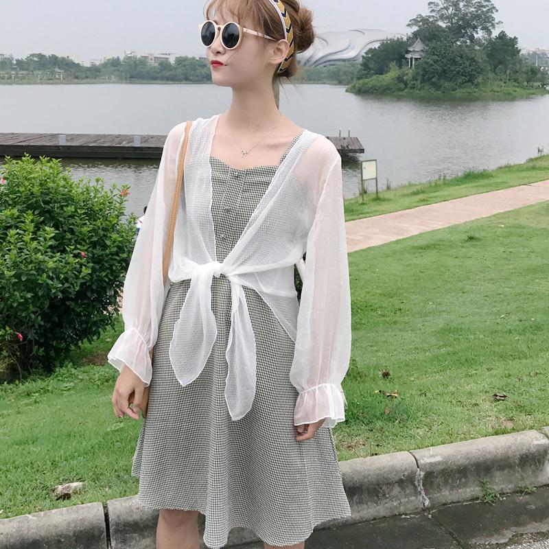 Women Plaid Sleeveless Dress Sun Protection Cardigan Female Chic Fashion Dress