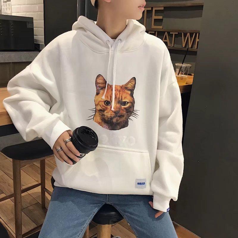 Men\'s Cat Tokyo Print Hooded Long Sleeve Sweater Winter Fashion Couple Jacket