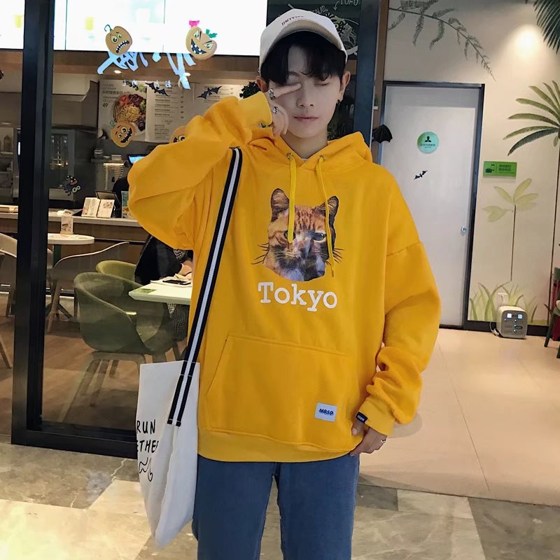 Men's Cat Tokyo Print Hooded Long Sleeve Sweater Winter Fashion Couple Jacket