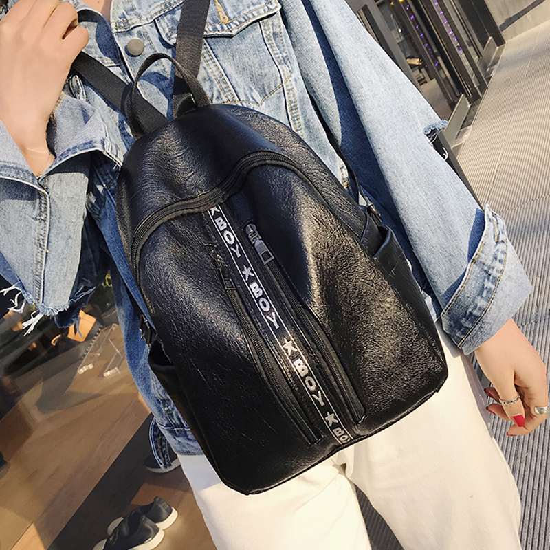 Women Soft Leather Wild Trend Casual Backpack Student Digging Bag Chic Fashion