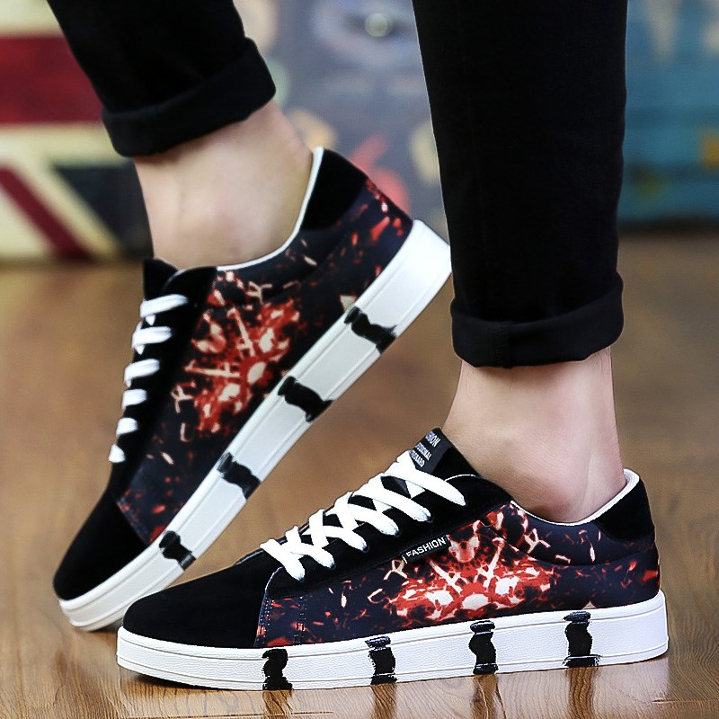 Men\'s Modern Art Cloth Shoes Street Trend Lace Up Summer Fashion Canvas Shoes