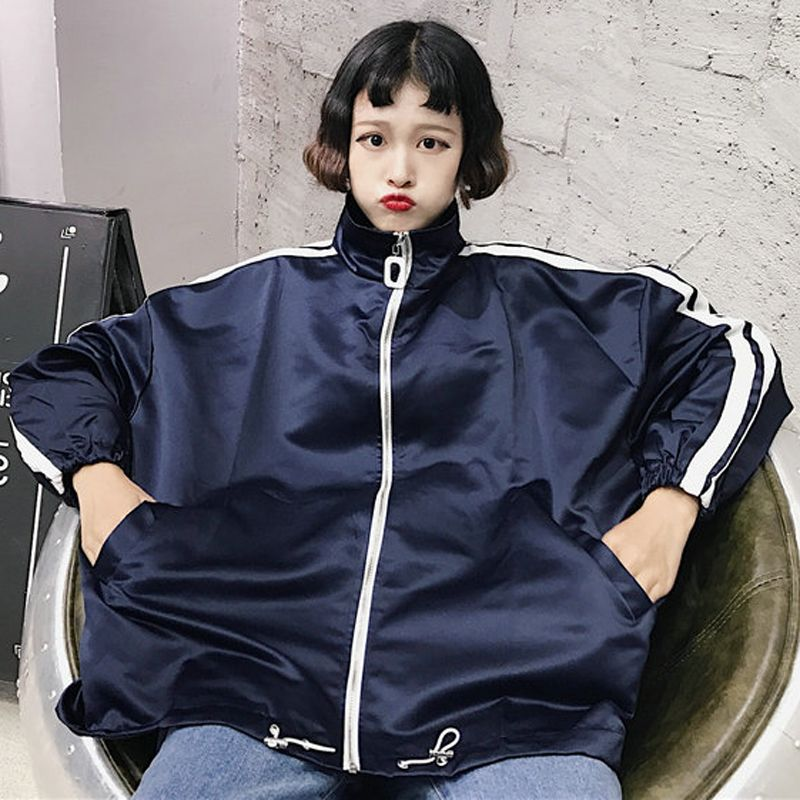 Women Wild Loose Boyfriend Jacket Zippered Long Sleeve Ladies Baseball Jacket
