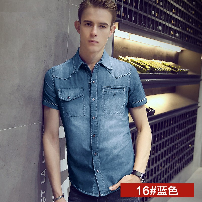 Men\'s Denim Washed Collared Polo Shirt Short Sleeve Slim Fit Plus Size Shirt