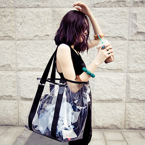 Women Jelly Transparent Mesh Shoulder Bag Large Capacity Ladies Beach Bag
