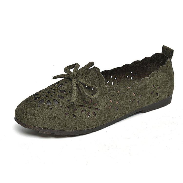 Women Suede Wind Flowers Breathable Peas Shoes Ladies Fashion Plus Size Flats