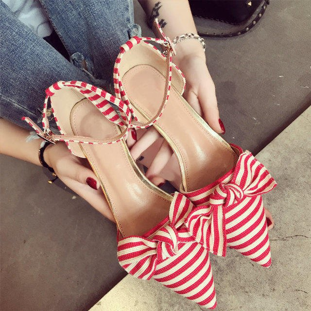Women Sweet Bow Stripes Pointed Toe Buckle Shoes Square Heels Fashion Sandals