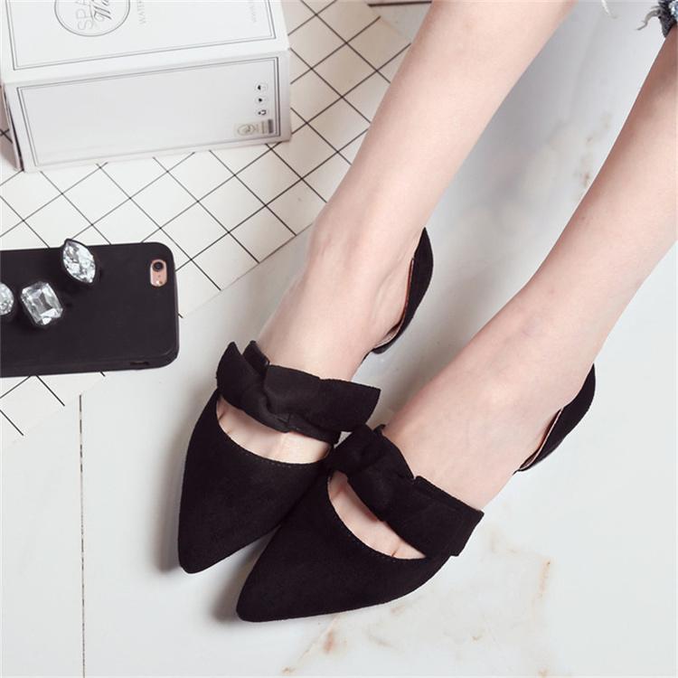 Women Suede Sweet Bow Elegant Ladies Shoes Square Low Heels Fashion Sandals