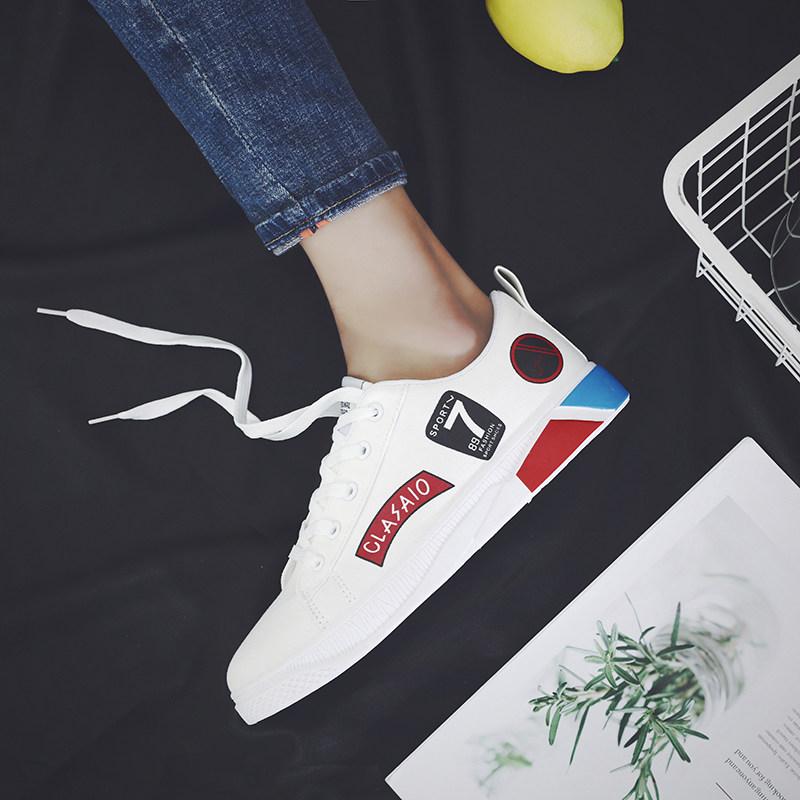Men's Stitch Statement Canvas Shoes Lace Up Hot Trend Male Sneaker Fashion Shoes