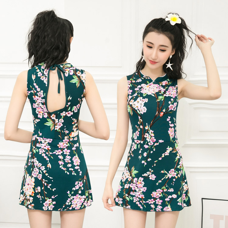 d860e09ee Women Conservative Type Chinese Style Swimsuit Dress Ladies Plus ...
