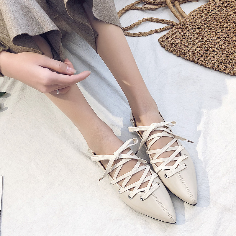 Women Cross Strap Ballet Shoes Tie Lace Pointed Toe Wild Fashion Flat Shoes