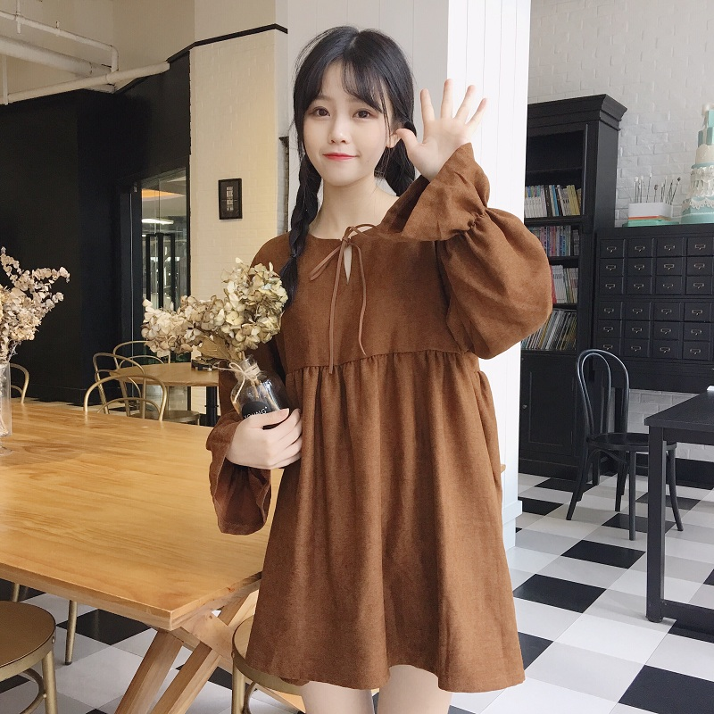 Women Solid Color Bow Tie Round Neck Trumpet Long Sleeve Fashion Mid Skirt Dress