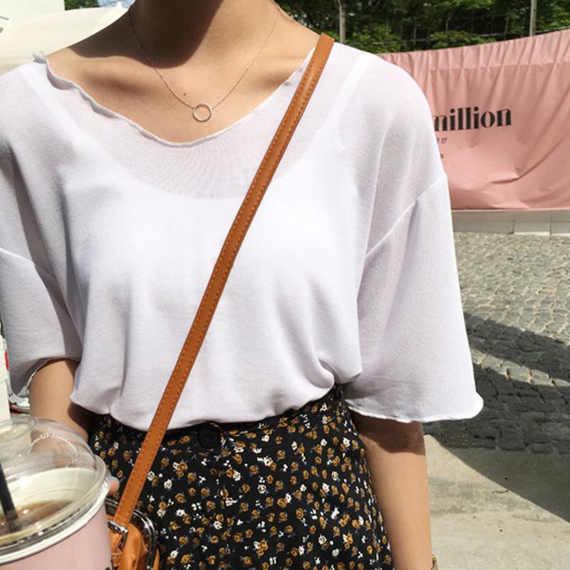 Women Solid Color Wavy Cotton Tees Loose Mid Sleeve Korean Fashion Ladies Tops