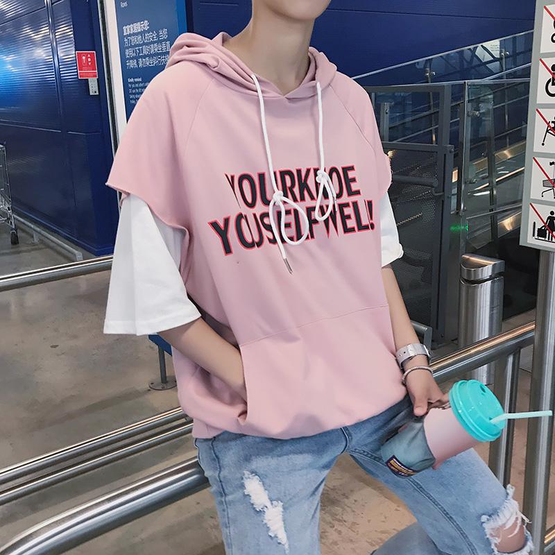 Men\'s Hooded Statement Shirt Loose Boyfriend Double Sleeve Couple Plus Size Tops