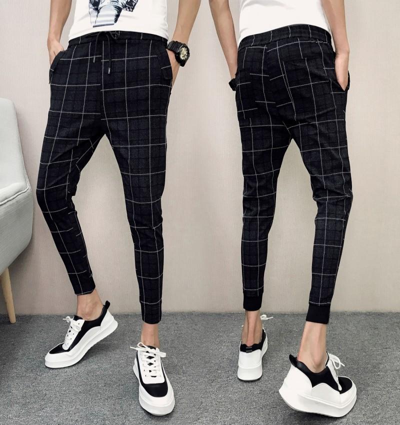 Men\'s Black Plaid Slim Fit Harem Pants Low Waist Cropped Pants Plus Size Bottom