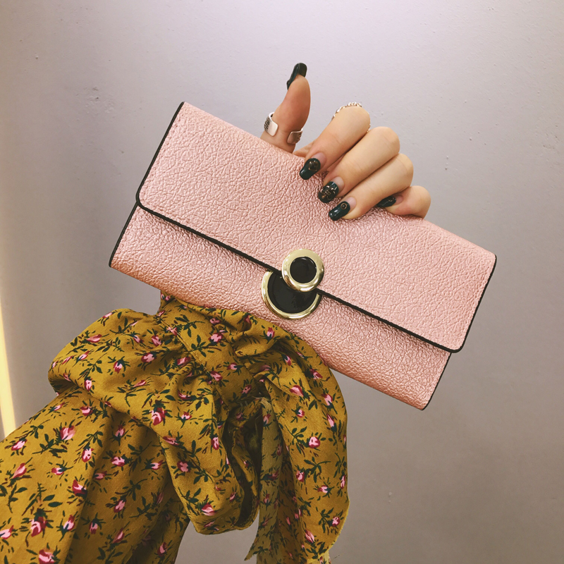 Women Metal Colors Long Clutch Wrist Wallet Party Fashion Ladies Card Wallet